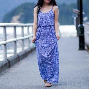 Lush Knit Maxi Dress in Cobalt Multi